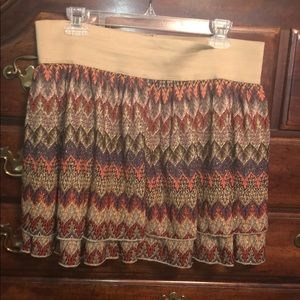 Dresses & Skirts - Pretty XLJ tan and gold colorful print lined skirt